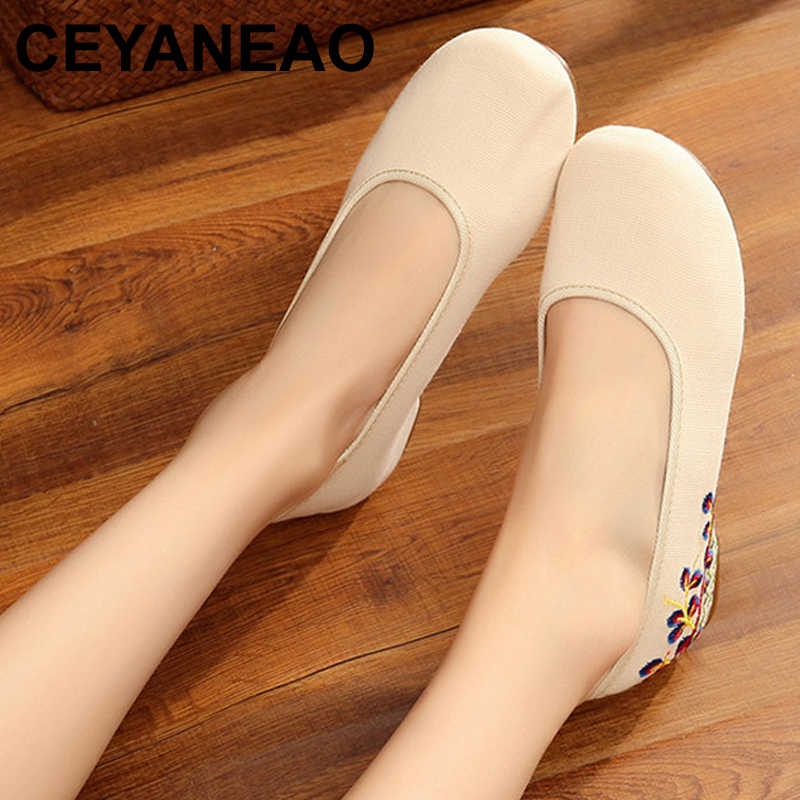 CEYANEAO Flowers Embroidered Women Canvas Ballet Flats Vintage Ladies Casual Slip on Cotton Embroidery Shoes Sapatos mulherE1424