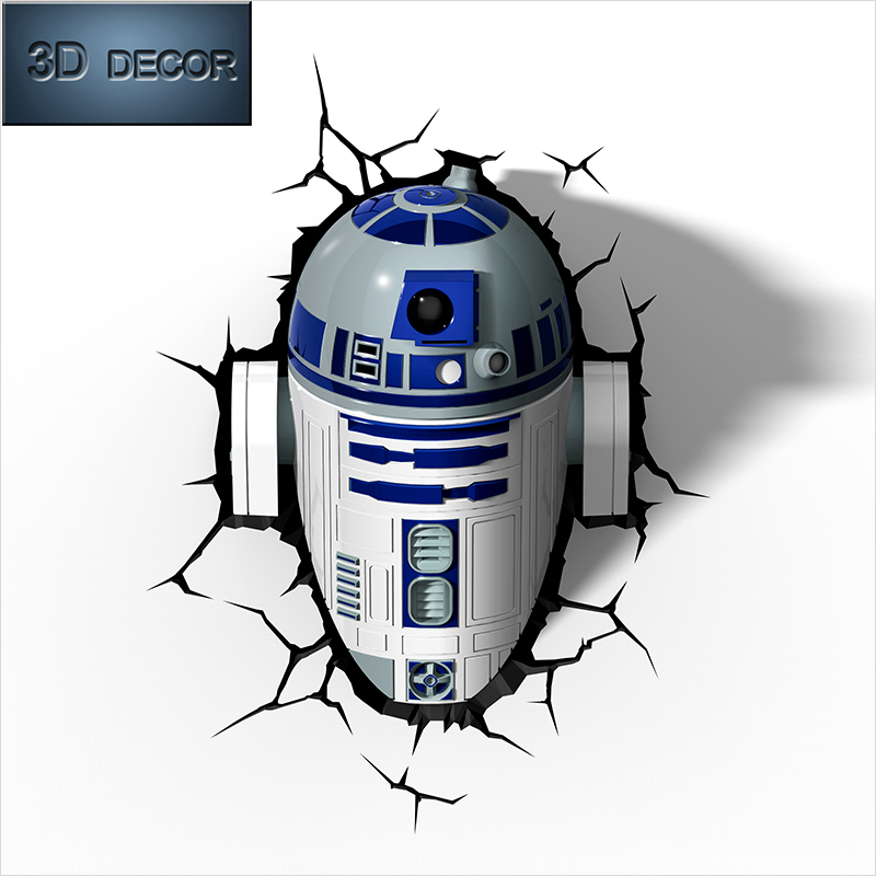 free shipping 3d decor lights star wars R2 D2 shape wall bedroom night light lamp as gift-in ...