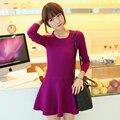 Nueva moda otoño invierno femenina plisada medio-largo suéter de las mujeres hizo punto la camisa básica delgada suéter