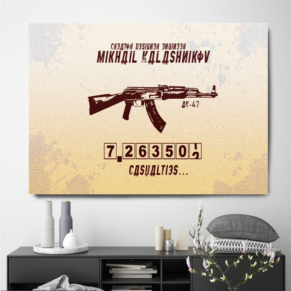 Kalashnikov AK 47 Weapon Poster And Print Canvas Art Painting Wall ...