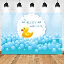 Baby Shower Photography Backdrops Gender Reveal Party Photo Background Blue Theme Backdrop Little Yellow Duck Toy Pool Photocall