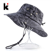 7f05b7b60ab Camouflage Sun Hats For Men Summer Wide Brim Bucket Hat Women Anti-UV Beach Caps  Men s Fishing Hunting Bob Cap Visor Chapeu bone