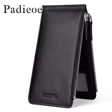 Padieoe 2017 Fashion New Design Cow Leather Credit Card Holder Men Leather ID Card Holder Wallet Double Zipper Women Purse Bag