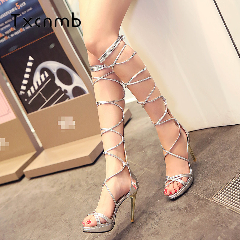 TXCNMB new 2018 Sandals High Heels Boots Genuine leather Sandals Crystal Sexy Slip-On Night club Party Dress Woman Shoes