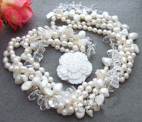 Handmade Luck Pearl Jewellery,5 Strands White Color Crystal Beads Natural Freshwater Pearl Necklace,Shell Flower Clasp