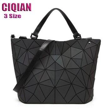 2020 Luminous Bag women's geometry lattic totes bag Quilted Shoulder Bags Hologram Laser Plain Folding Handbags  Free Shipping