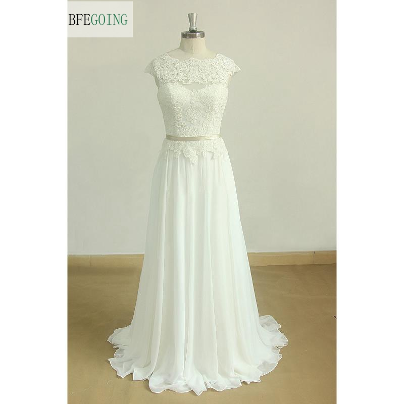 Ivory Lace Appliques Chiffon  A-line Wedding Dresses Sweep/Brush Train   Floor -Length  Cap Sleeves Custom Made