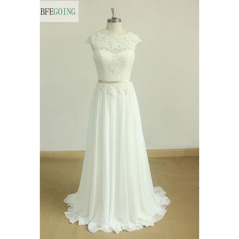 Ivory Lace Appliques Chiffon  A-line Wedding Dresses Sweep/Brush Train   Floor -Length  Cap Sleeves Custom Made