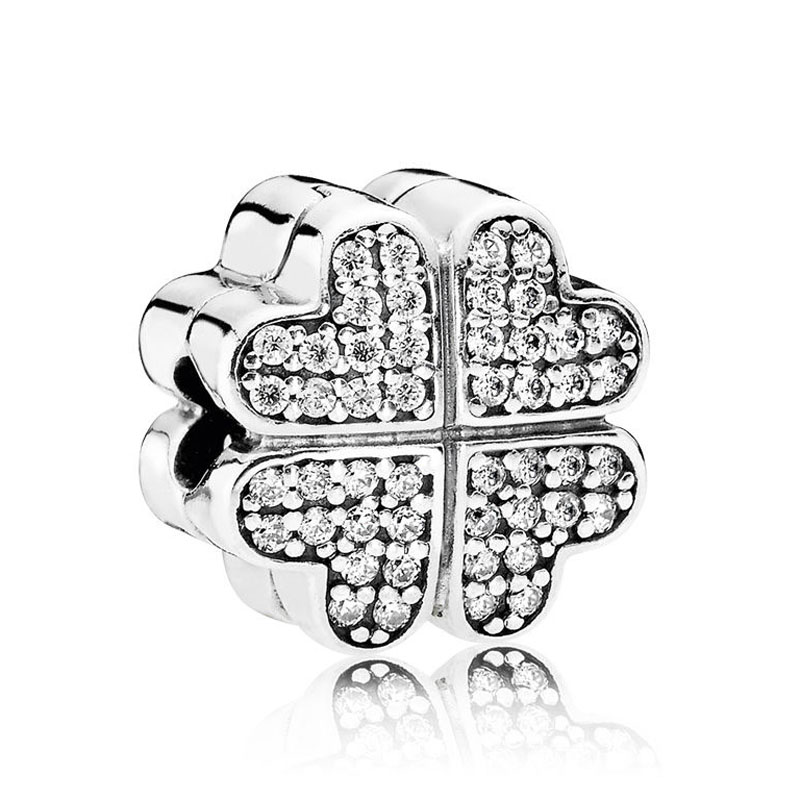 S925 Silver DIY Jewelry Petals of Love Clips Stoppers Charm fit Pandora Bracelets & BanglesS925 Silver DIY Jewelry Petals of Love Clips Stoppers Charm fit Pandora Bracelets & Bangles