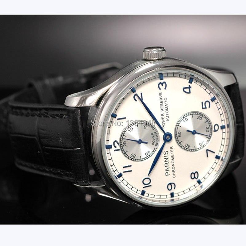 43mm parnis quadrante bianco power reserve segni blu ST2542 movimento automatico mens watch P9943mm parnis quadrante bianco power reserve segni blu ST2542 movimento automatico mens watch P99