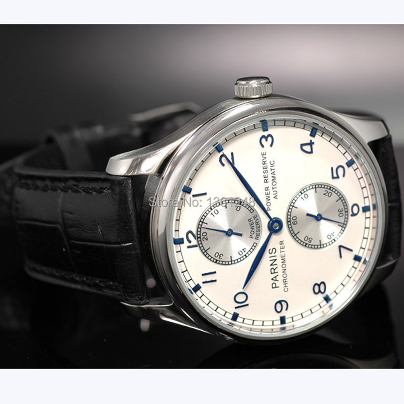 43mm parnis white dial power reserve blue marks ST2542 movement automatic mens watch P99 цена