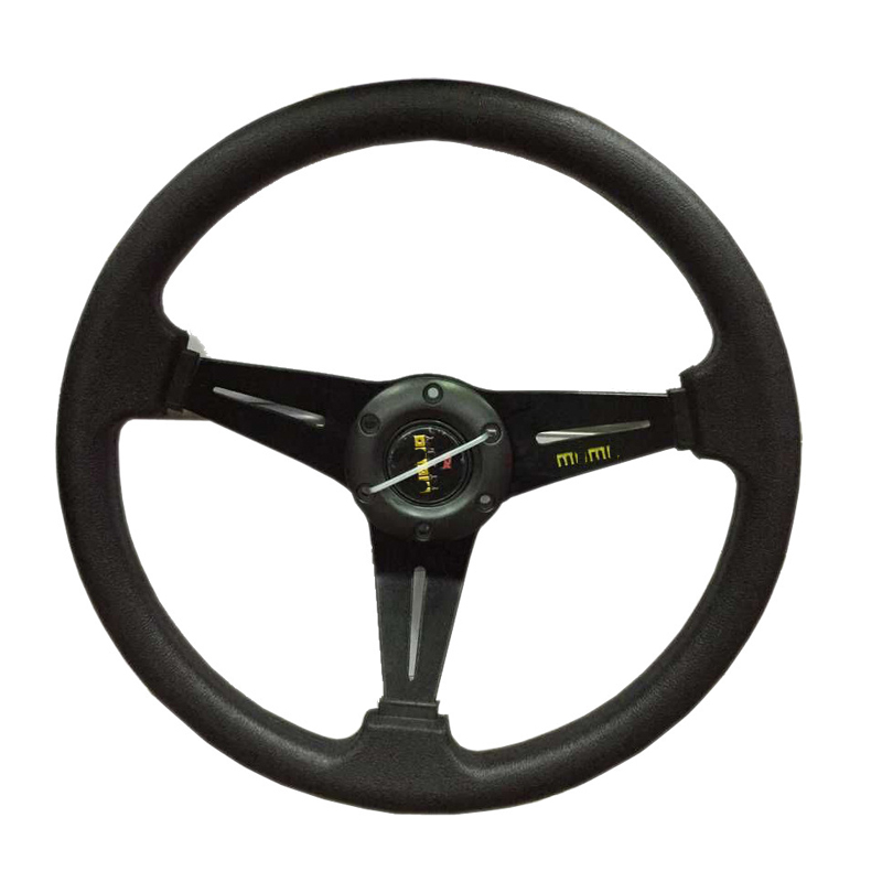 Prix pour HANSBO 350 MM Universel Noir Véritable LeatherDeep Plat Dérive Sport Racing Volant De Voiture-Style Renovation Livraison Gratuite!!!