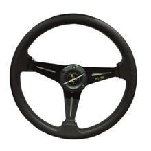 HANSBO 350 ММ Универсальный Черный Подлинная LeatherDeep Dish Дрифтинг Гонки Рулевого Колеса Автомобиля Для Укладки Ремонт Бесплатная Доставка!!!