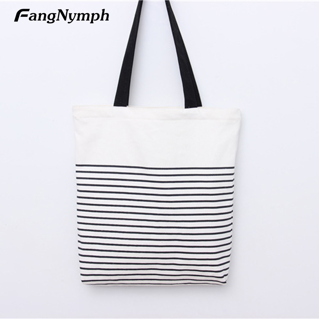 FangNymph 2018 New Casual Women Striped Shopping Tote Bag Canvas Handbag Crossbody Bag High Quality Five Stars Student Bookbag women s bag the new casual versatile one shoulder handbag shopping bag high quality student big capacity personality canvas