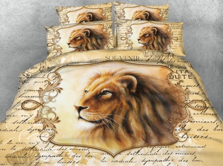 US $175.0 |3D Lion Comforter set Animal print Bedding sets quilt duvet  cover bed sheet linen bedspread California King size queen twin 5PCS-in  Bedding ...