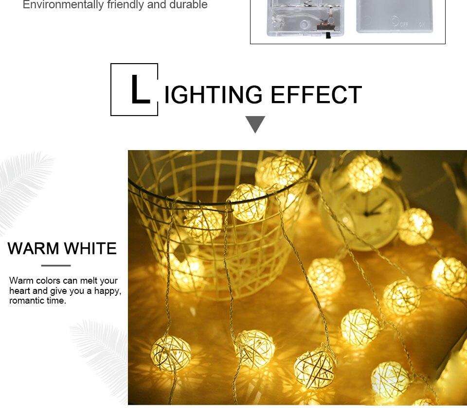 Rattan Balls LED String Lights Battery Garland Cotton Ball Light Chain Guirlande Lumineuse Holiday Christmas Lights Balls (8)