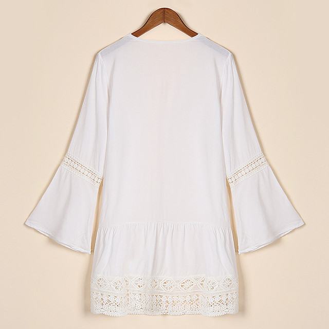 Womens Boho Summer Dress Sexy  Deep V-neck Bell Sleeve Hollow Lace Crochet Casual Loose Mini Dresses Ladies Beach Vestidos