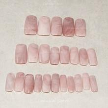 2016 Hot selling long marble nails, pink marble, natural texture aritificial nails