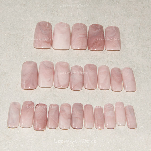 2016 Hot selling long marble nails, pink marble, natural texture ...