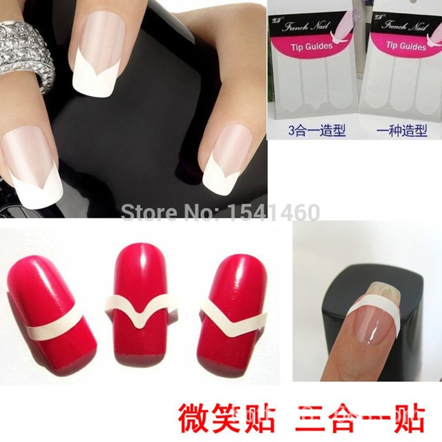 French smile easy beauty diy nails tape tools round square nail art nail sticker gel nails