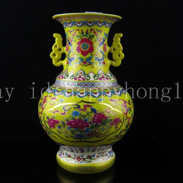 Exquisite Chinese Classical Yellow Porcelain Vase Painted with Beautiful Flowers in Bottles Jars Boxes from Home Garden