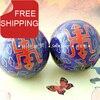 Free Shipping 50mm Handmade Baoding Balls W Chinese Handwriting Longevity In Blue Chiming Health Balls Imitation