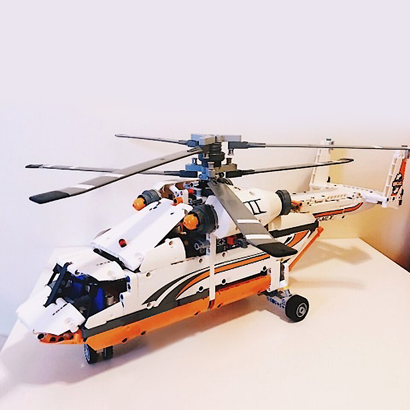 Heavy Lift Helicopter DIY Building Bricks Blocks Figures Toys for Children Boys Game Model Gift Compatible with Lepins 3D Model 10646 160pcs city figures fishing boat model building kits blocks diy bricks toys for children gift compatible 60147