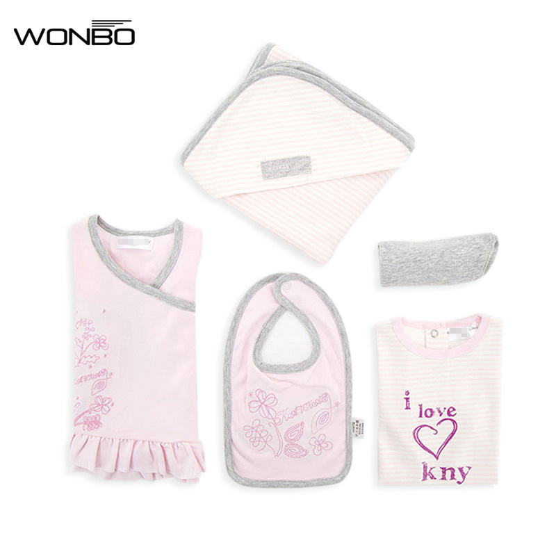 1 Set Baby Girl Clothing Soft Tops Bibs Short Sleeved Romper Pants Blankets Infant Newborn Clothes for Baby New Born Baby Set