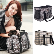 2016 New Pet Dog Cat Carrier Bag Fold Tote Leopard Tartan Purse Shoulder Bag Handbag Portable Travel Bag Pet Carrier Bag