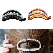 2 PCS Women Hollow Rhinestone Hair Banana Clips Ponytail Holder Black Brown Clamp Crystal Accessories