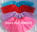 Star glitter sparkly tulle pink  tutu girls skirt free shipping by ems