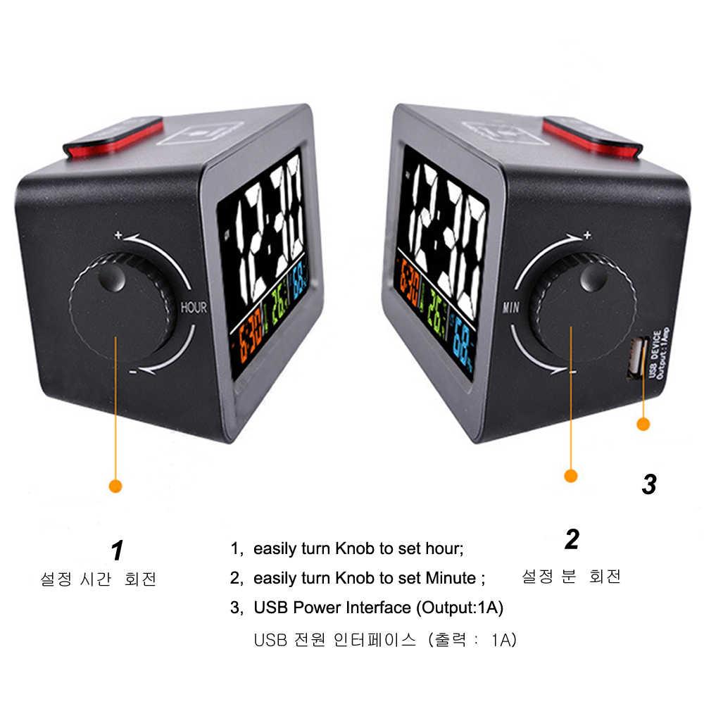 Presente idéia de cabeceira acordar despertador digital com termômetro higrômetro umidade temperatura mesa relógio telefone carregador