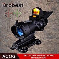 Brobest ACOG 4x32 оптический прицел и Мини Red Dot Real Red оптоволоконной Imager для охоты QD крепление 1 комплект AO5316