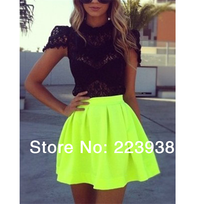 fc65504c8a New 2014 Fashion Brand Women skirts Spring Summer Neon colors Green Skater  Short Skirt saias femininas Size S-XXL