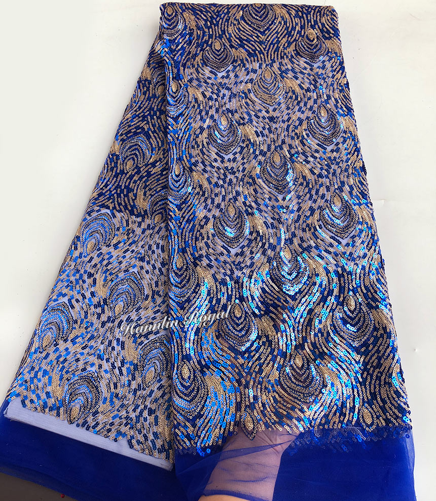 Royal blue Gold 2 Shades Sequins french lace African tulle lace fabric high quality 5 yards