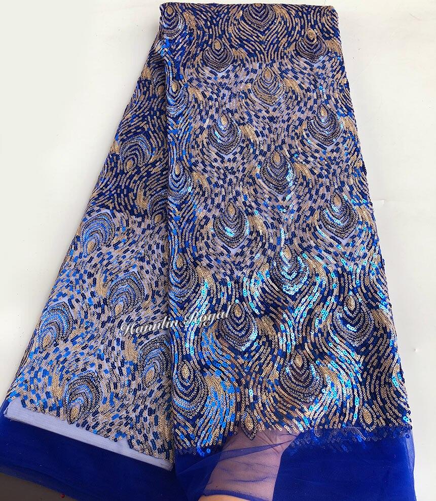 로얄 블루 골드 2 음영 장식 조각 프랑스어 레이스 아프리카 얇은 명주 그물 레이스 패브릭 고품질 조각 당 5 야드-에서레이스부터 홈 & 가든 의  그룹 1