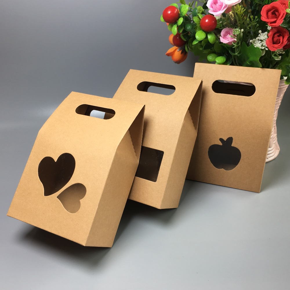 30pcs 10*6*16cm Kraft Stand Paper Boxes,Brown Paper Box For Tea Gift Packaging Candy Food Bag With Handle