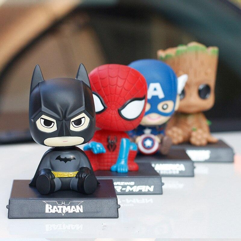Украшение автомобиля для Marvel Мститель фигурка модель качающаяся голова Автомобильный интерьер милое украшение кукла игрушки аксессуары-in Орнаменты from Автомобили и мотоциклы