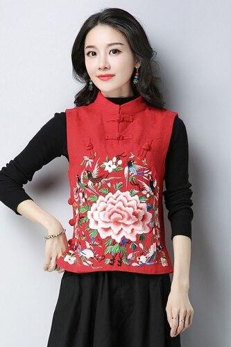 Manches Lin Coton Chinois Broderie Chemise Vintage Tops Gilet Femmes Sans Et Ethnique Stand Col Style rouge Noir vOgxwIf4qc