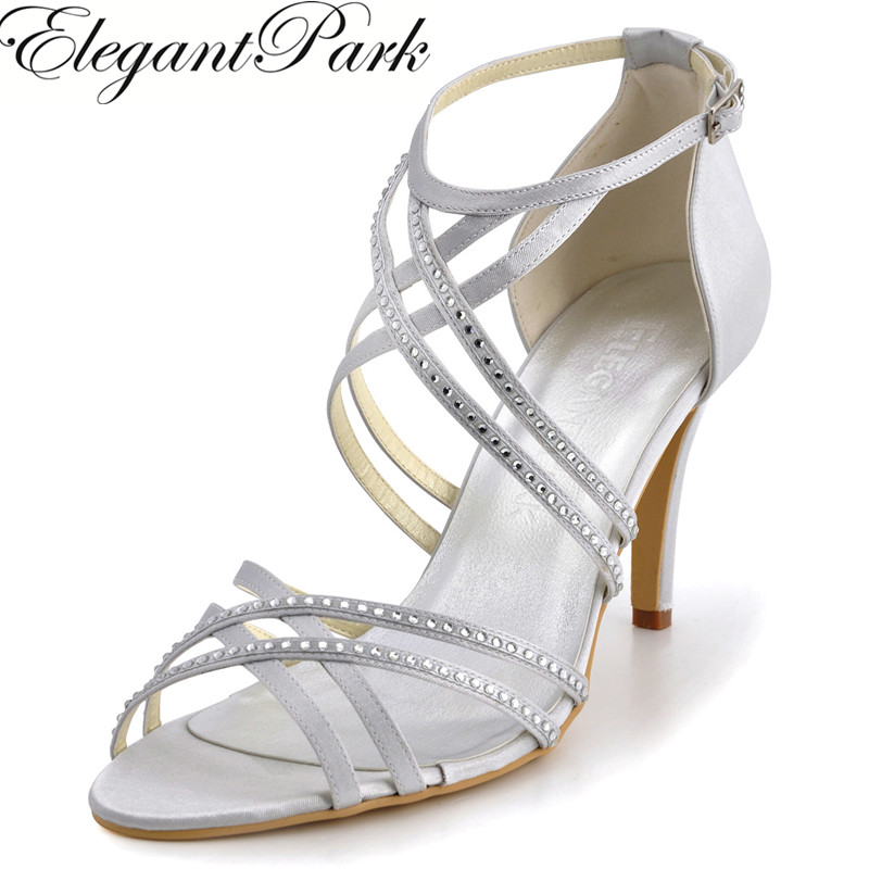 summer Women Sandals EP11062 Silver Open Toe Cross ankle Strap crystal High Heel Satin Evening Dress wedding Shoes White Ivory