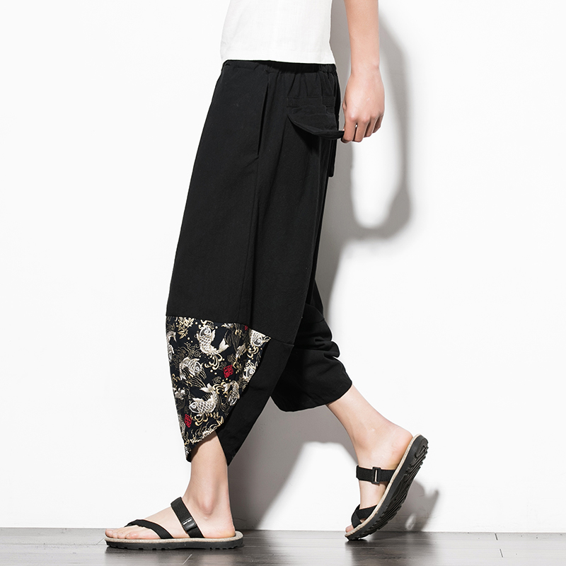 2018 китайский широкие брюки из хлопка и льна брюки Для мужчин Pantaloni Uomo Повседневное плюс Размеры 5xl лоскутное Pantalon Lino Hombre до середины икры Дли...