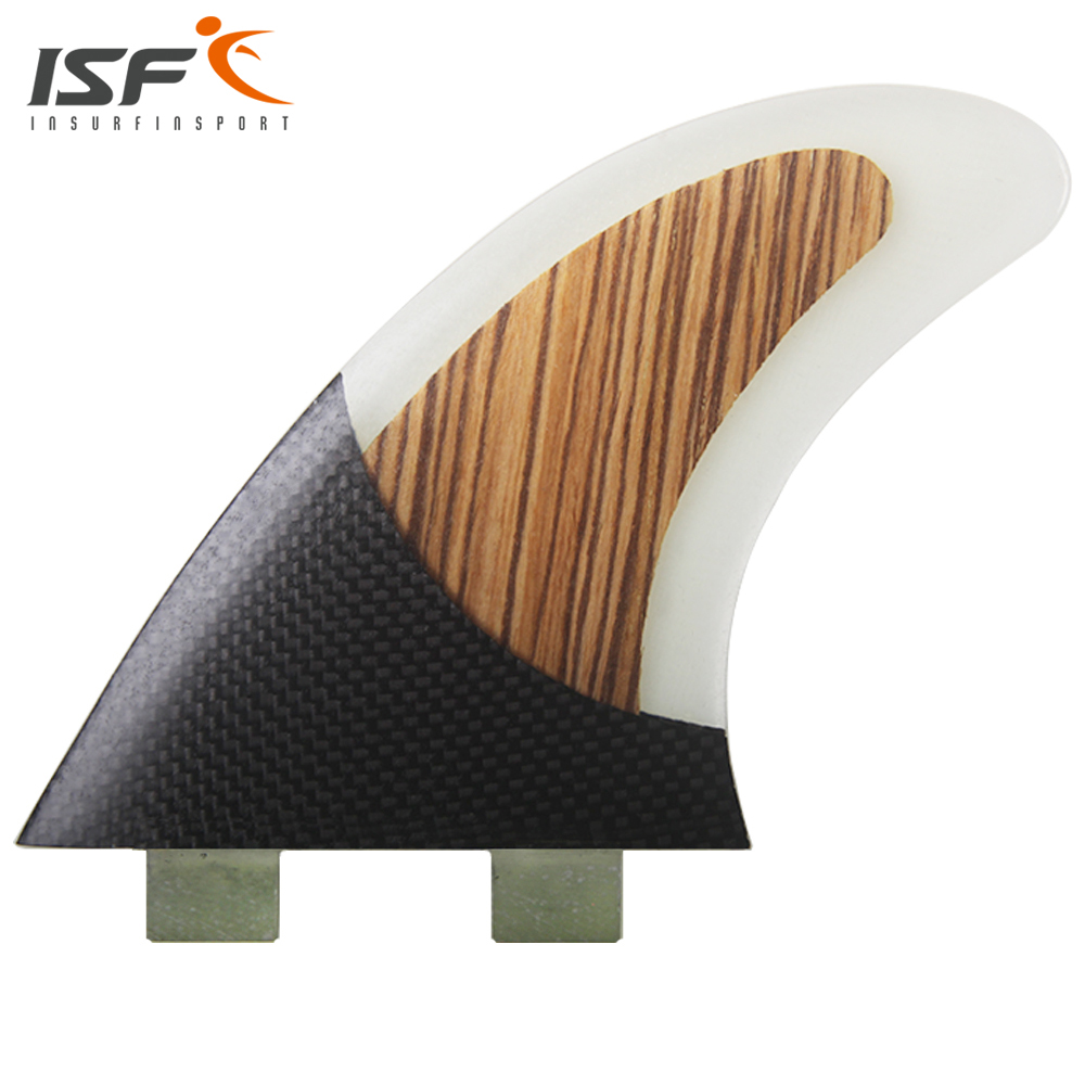 Insurfin Carbonfiber Surfboard Fins Thruster Fin Set (3) FCS Compatible Large Wood Surf Fin