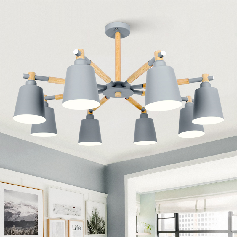 Nordic Chandelier E27 With Iron Lampshade For Living Dining room suspension luminaire Fixtures Lamparas Colgantes Wooden Lustre-in Chandeliers from Lights & Lighting    1