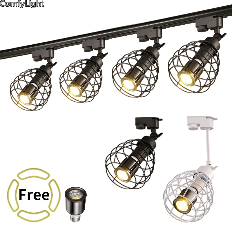 LED COB Track Rail Light AC85- 265V Spotlight Adjustable lamp Mall Exhibition Office black/white Rail Track Lighting spotlights