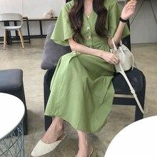 Women Summer Green Cotton Long Shirt Dress Ladies Sexy V Nec