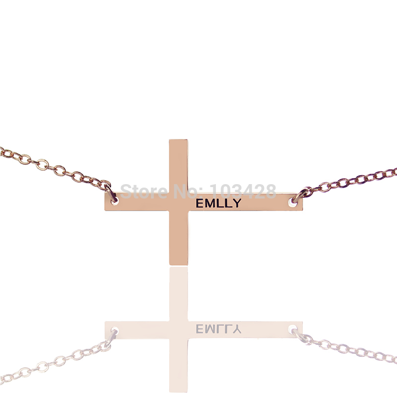 Small Cross Necklace Charm Cross Name Necklaces Personalized 18ct Rose Gold Color Name Necklaces Cross Jewelry cross cross ac028077 1