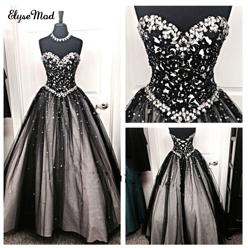 ba41e103e30 New Arrival Ball Gown Sweetheart Tulle Beaded Vintage Black Crystal Ball  Gown Quinceanera Dresses Prom Pageant
