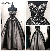 New Arrival Ball Gown Sweetheart Tulle Beaded Vintage Black Crystal Ball Gown Quinceanera Dresses Prom Pageant Custom 2018