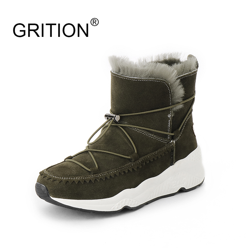 GRITION Winter Snow Boots Women Girls Ankle Boots Fashion Non Slip Warm Cotton Shoes Funky Elastic Band Pure Color Zapatos Mujer