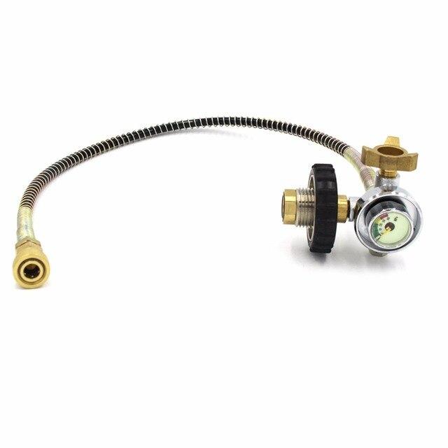 PCP дайвинг клапан автозаправочная станция CO2 воды подведенный внизу черный G5/8 300bar Малый измерительный инструмент из углеводородного волокна цилиндр воздуха для заправки туристических плиток